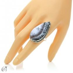 Ópalo dendrítico en plata de ley, anillo gota, talla 22 modelo 2
