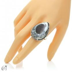 Ópalo dendrítico en plata de ley, anillo gota, talla 23 modelo 1