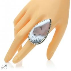 Ópalo dendrítico en plata de ley, anillo gota, talla 23 modelo 3