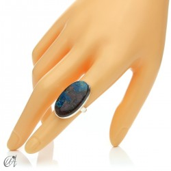 Oval Azurite Ring in Sterling Silver, Size 12