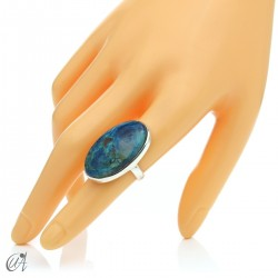 Oval Azurite Ring in Sterling Silver, Size 14 model 1