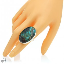 Oval azurite ring in sterling silver