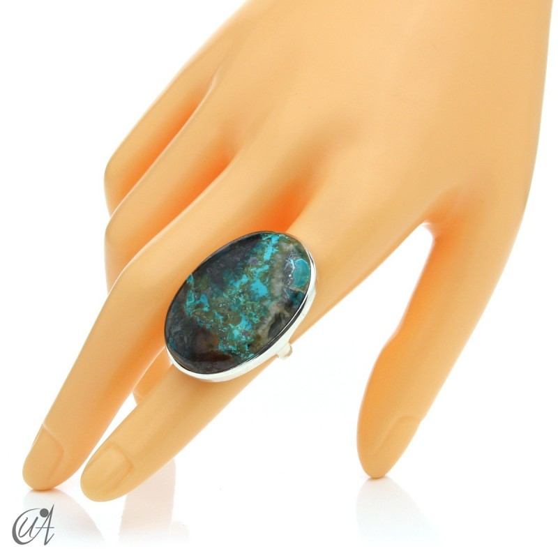 Oval Azurite Ring in Sterling Silver, Size 14 model 2