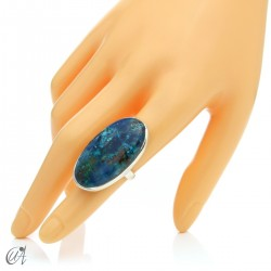 Oval Azurite Ring in Sterling Silver, Size 14 model 3