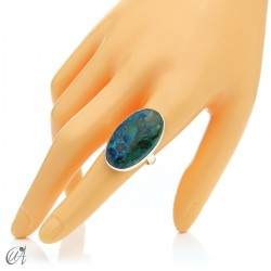 Oval Azurite Ring in Sterling Silver, Size 18 model 1
