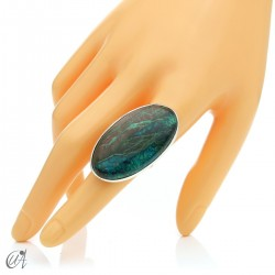 Oval Azurite Ring in Sterling Silver, Size 18 model 3