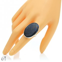 Oval Azurite Ring in Sterling Silver, Size 19 model 2