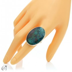 Oval Azurite Ring in Sterling Silver, Size 19 model 3