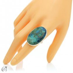 Oval Azurite Ring in Sterling Silver, Size 20 model 1
