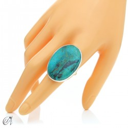 Oval Azurite Ring in Sterling Silver, Size 21 model 3