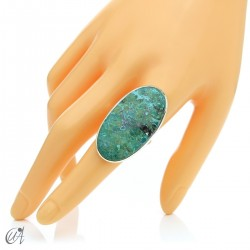 Oval Azurite Ring in Sterling Silver, Size 22 model 2