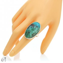 Oval Azurite Ring in Sterling Silver, Size 23 model 2