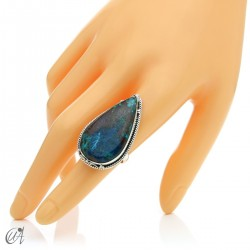Azurite drop ring and 925 silver
