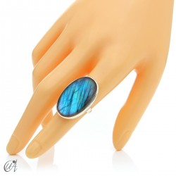 Sterling silver oval ring with labradorite, size 15 model 2