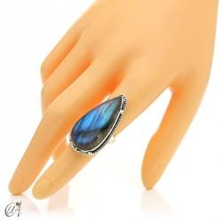 Gothic labradorite teardrop ring in silver, size 15 model 1