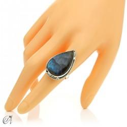 Gothic labradorite teardrop ring in silver, size 17 model 1