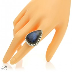 Gothic labradorite teardrop ring in silver, size 17 model 2
