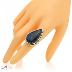 Gothic labradorite teardrop ring in silver, size 17 model 3