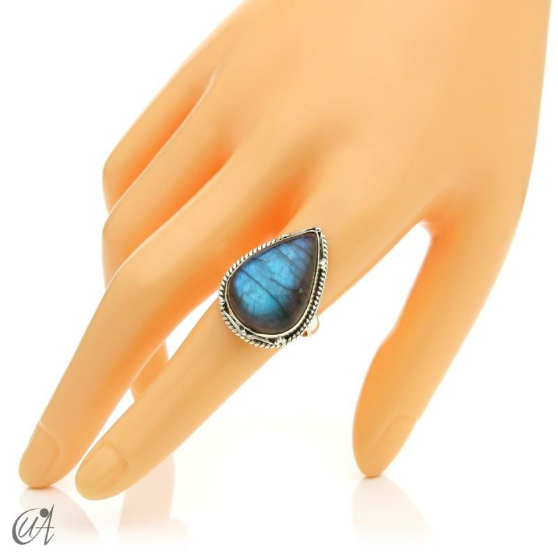 Gothic labradorite teardrop ring in silver, size 19 model 1