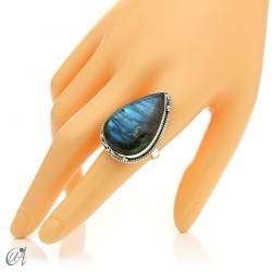 Gothic labradorite teardrop ring in silver, size 19 model 2