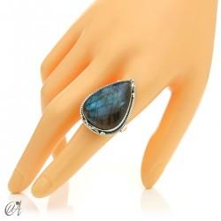 Gothic labradorite teardrop ring in silver, size 19 model 3
