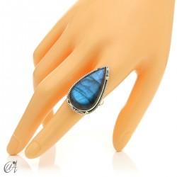 Gothic labradorite teardrop ring in silver, size 20 model 1