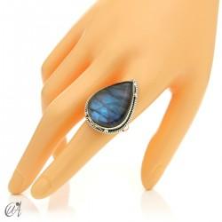 Gothic labradorite teardrop ring in silver, size 20 model 2