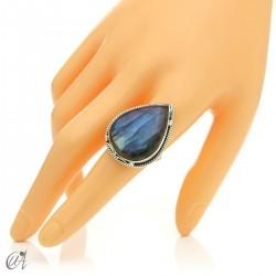 Gothic labradorite teardrop ring in silver, size 20 model 3