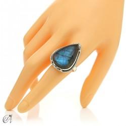 Gothic labradorite teardrop ring in silver, size 22 model 1
