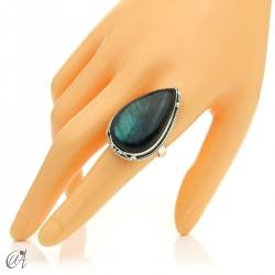 Gothic labradorite teardrop ring in silver, size 22 model 2