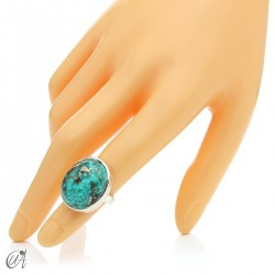 Turquoise ring in sterling silver, size 09