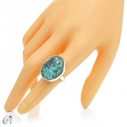 Turquoise ring in sterling silver, size 14 model 1