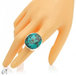 Turquoise ring in sterling silver, size 16 model 2