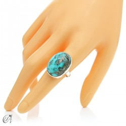 Turquoise ring in sterling silver, size 18 model 1