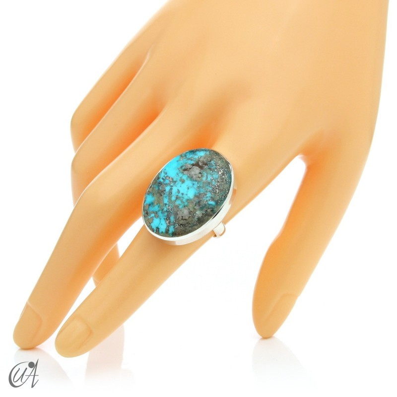 Turquoise ring in sterling silver, size 18 model 2