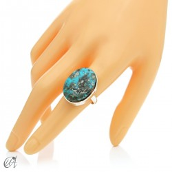 Turquoise ring in sterling silver, size 19 model 1