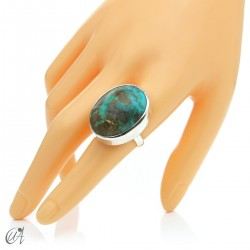 Turquoise ring in sterling silver, size 20 model 2