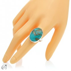 Turquoise ring in sterling silver, size 21 model 1