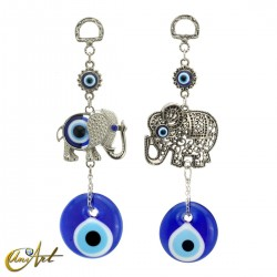 Amuleto ojo turco con elefante de metal