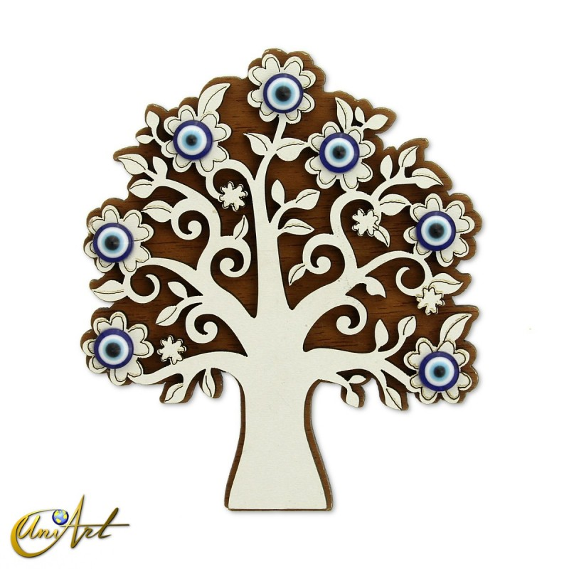 Wooden ornament with Turkish evil eye and magnet, tree