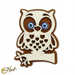 Wooden ornament with Turkish evil eye and magnet, owl