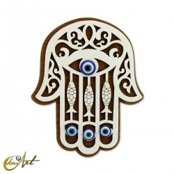 Wooden ornament with Turkish evil eye and magnet, hand of Fatima