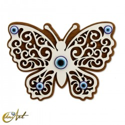 Wooden ornament with Turkish evil eye and magnet, butterfly.