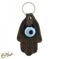 Turkish Evil Eye with Fatima Hand - Keychain grayish olive color
