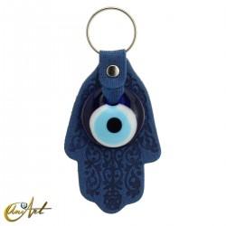 Ojo turco con mano de Fátima - llavero color azul.