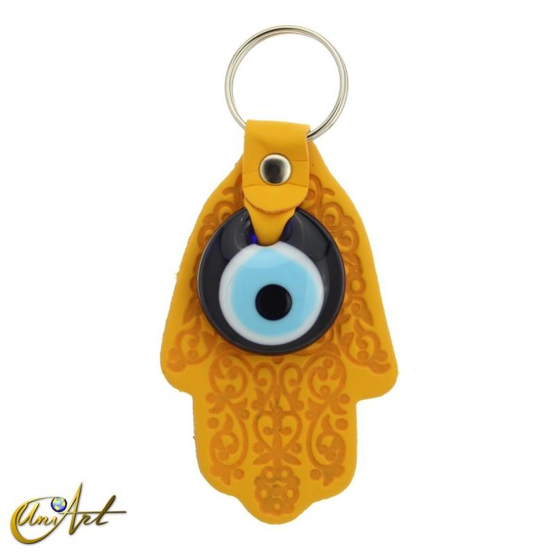 Turkish Evil Eye with Fatima Hand - Keychain yellow color