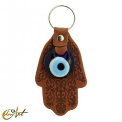 Turkish Evil Eye with Fatima Hand - Keychain leather brown color