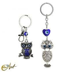 Keychain Turkish evil eye, with an owl