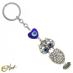 Keychain Turkish evil eye, with an owl, model 1