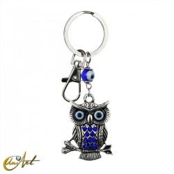 Keychain Turkish evil eye, with an owl, model 2